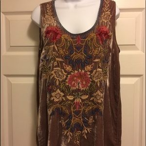 Johnny Was chocolate tunic richly embroidered.